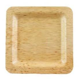 Assiette Carrée en Bambou 120x120x10mm (100 Unités)