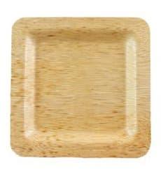 Assiette Carrée en Bambou 15x15x1cm (10 Unités)