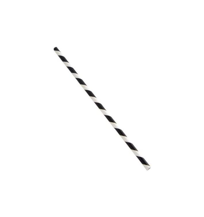 Paille Droite Papier Noir et Blanc Ø6mm 21cm (6000 Utés)