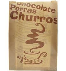 """Sachet à Churros """"Chocolat"""" Kraft 30+9x42cm (250 Utés)"""