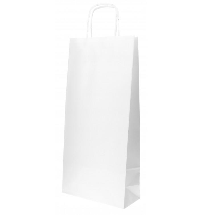 Sac en papier Blanc porte-bouteilles 18+8x39cm (50 Utés)