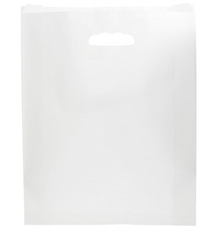 Sac en papier Blanc Anses Découpées 41+10x42cm (250 Utés)