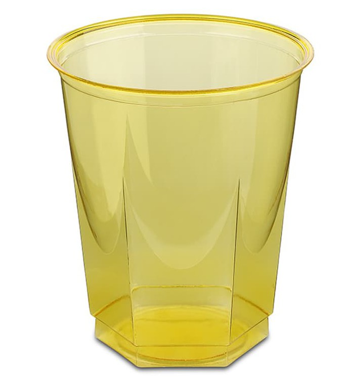 Gobelet Plastique Hexagonal Jaune PS Cristal 250ml (10 Utés)
