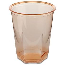 Gobelet Plastique Hexagonal Orange PS Cristal 250ml (10 Utés)