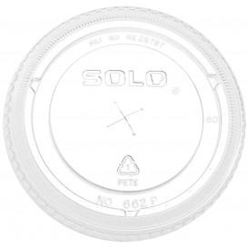 Couvercle Plat avec Passage PET Cristal Ø10,7cm (50 Utés)
