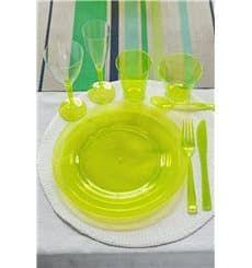 Assiette Plastique Extra Dur Verte 23cm (90 Unités)