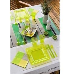 Assiette plastique carrée extra dur Vert 22,5x22,5cm (6 Unités)