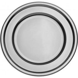 Assiette en Plastique PET Ronde Argenté Ø23cm (180 Utés)