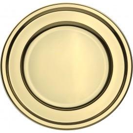 Assiette en Plastique PET Ronde Doré Ø18,5cm (6 Utés)