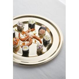 Assiette en Plastique PET Ronde Doré Ø23cm (180 Utés)