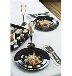 Assiette en Plastique Dur Noire 15cm (20 Utés)