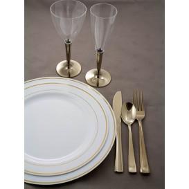 Assiette en Plastique Dur avec Liseré Or 23cm (6 Utés)