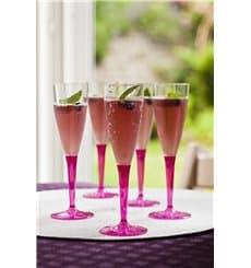 Flûte Champagne Plastique Framboise 100ml (6 Unités)