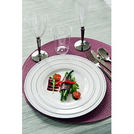 Assiette en Plastique Dur avec Liseré Argent 15cm (20 Utés)