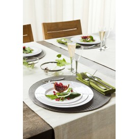 Assiette en Plastique Dur avec Liseré Argent 26cm (90 Utés)