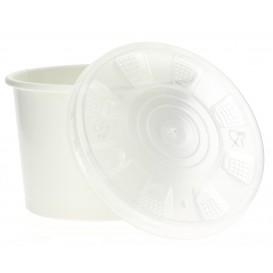 Pot en Carton Blanc avec Couvercle PP 250ml (50 Unités)