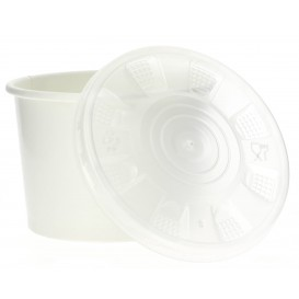 Pot en Carton Blanc avec Couvercle PP 250ml (250 Utés)