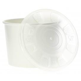 Pot en Carton Blanc avec Couvercle PP 350ml (50 Unités)
