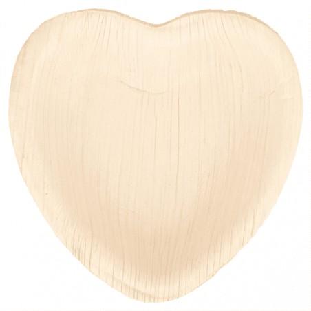 Assiette Coeur Feuilles de Palmier 10x10x1,5cm (25 Utés)
