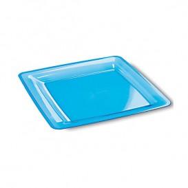 Assiette plastique carrée extra dur Turquoise 18x18cm (108 Unités)