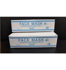 Masque Chirurgical Blanc 2 plis avec élastiques (50 Utés)