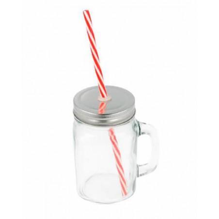 Pichet en Cristal avec Couvercle et Paille 450 ml (1 Uté)