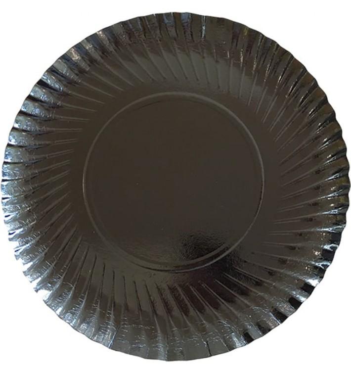 Assiette ronde en Carton Noir 250 mm (100 Unités)