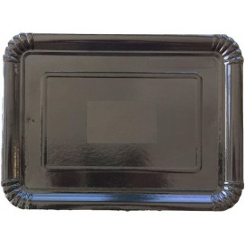 Plat rectangulaire en Carton Noir 14x21 cm (100 Unités)