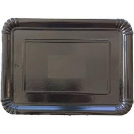 Plat rectangulaire en Carton Noir 22x28 cm (100 Unités)
