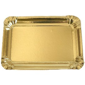 Plat rectangulaire en Carton Doré 18x24 cm (800 Unités)