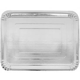 Plat rectangulaire en Carton Argenté 14x21 cm (100 Unités)