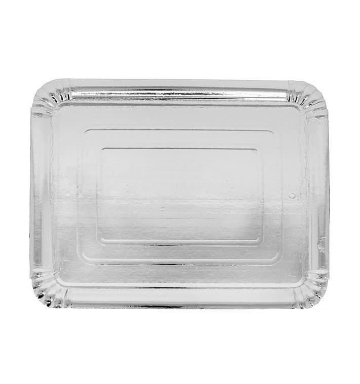 Plat rectangulaire en Carton Argenté 20x27 cm (100 Unités)