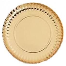 Assiette ronde en Carton Doré 180 mm (100 Unités)