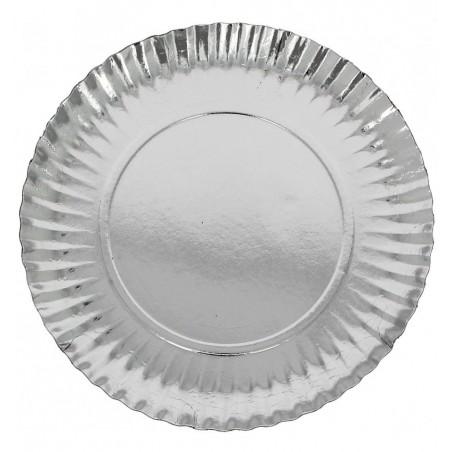 Assiette ronde en Carton Argenté 100 mm (2500 Unités)