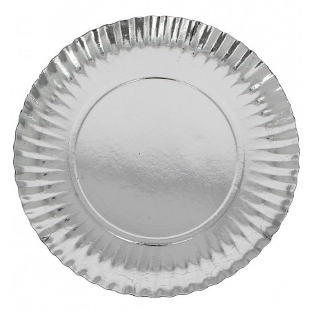 Assiette ronde en Carton Argenté 100 mm (100 Unités)