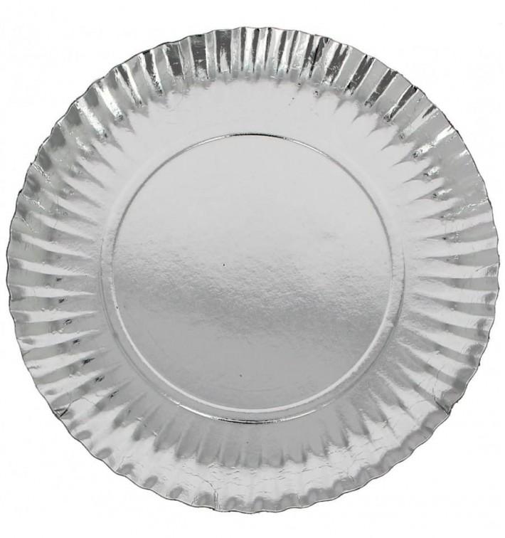 Assiette en Carton Ronde Argenté 180 mm (100 Unités)