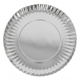 Assiette ronde en Carton Argenté 320 mm (250 Unités)
