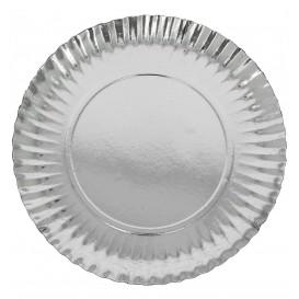 Assiette ronde en Carton Argenté 380 mm (50 Unités)