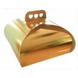 Boîte pâtissière Carton Doré avec Cravate 275x275x140mm (50 Utés)