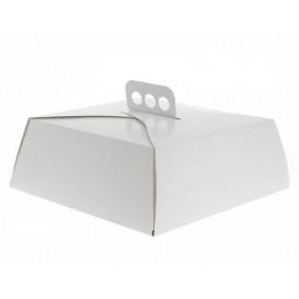 Boîte en carton Blanche Tarte Carrée 24,5x24,5x10 cm (100 Unités)