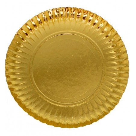 Assiette en Carton Ronde Doré 180 mm (100 Unités)