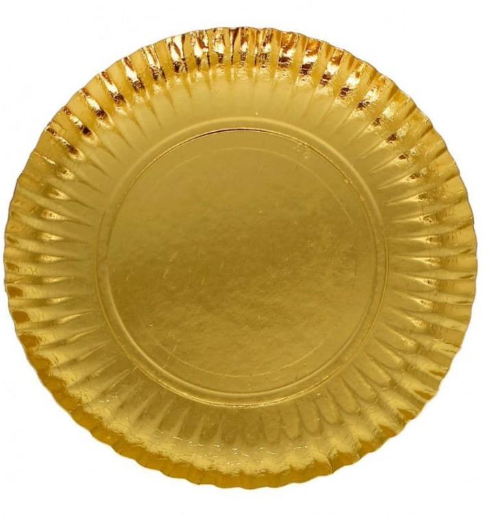 Assiette en Carton Ronde Doré 250 mm (500 Unités)