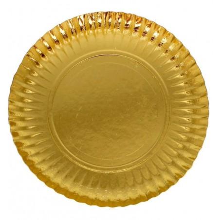 Assiette ronde en Carton Doré 380 mm (50 Unités)