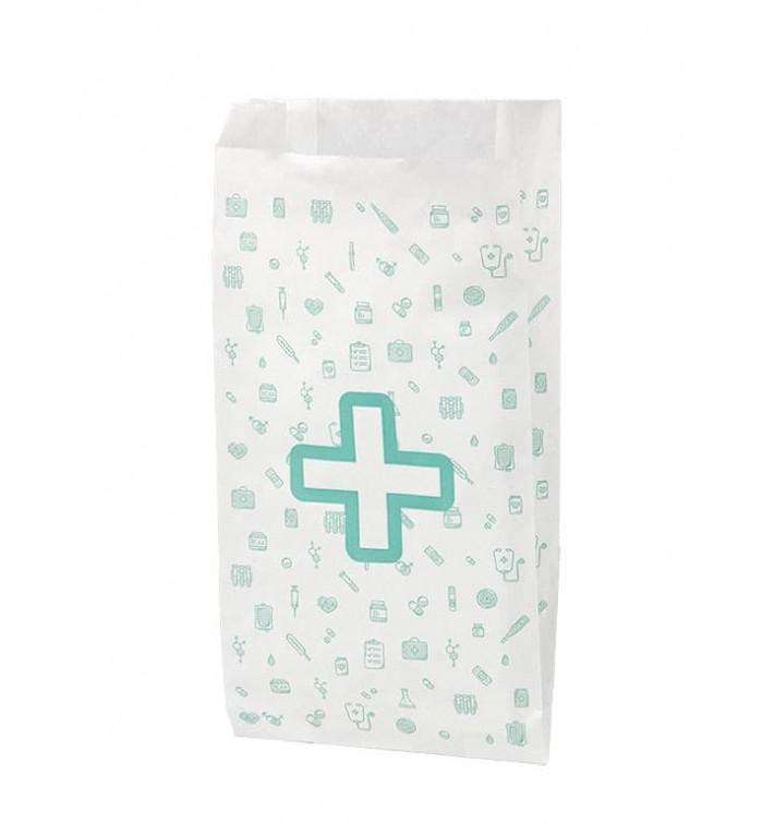 Sac Papier Blanc Pharmacie 14+7x27cm (1000 Utés)