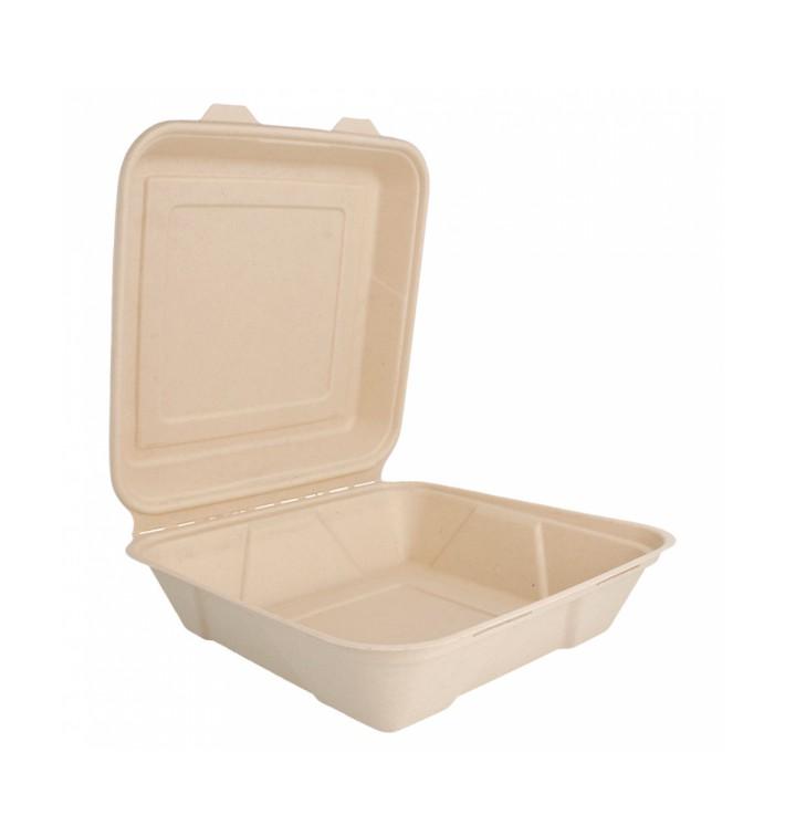 Boîte en Canne à Sucre Naturel 225x225x75mm (50 Utés)