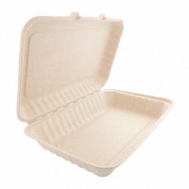 Boîte Canne à Sucre Couvercle à charnière Naturel 335x230x75mm (150 Utés)
