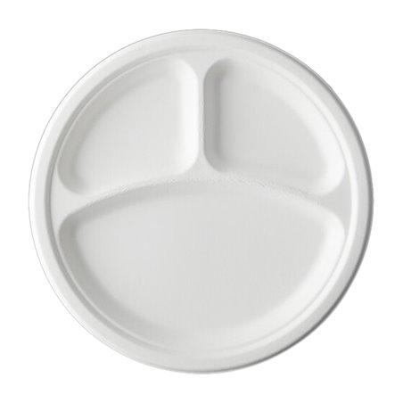 Assiette Canne à Sucre Bagasse 3C Blanc Ø23 cm (50 Utés)