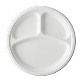 Assiette Canne à Sucre Bagasse 3C Blanc Ø23 cm (500 Utés)