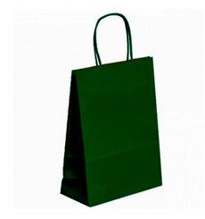 Sac en Papier Kraft Vert avec Anses 80g 20+10x29 cm (250 Utés)