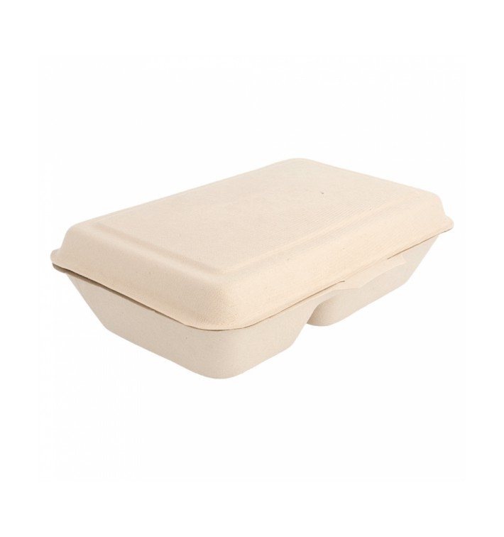 Boîte en Canne à Sucre 2 C Naturel 225x165x64mm (50 Utés)